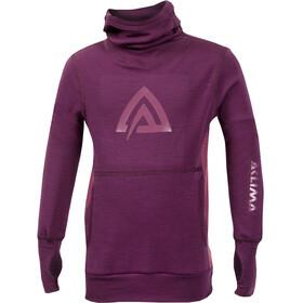 Aclima Children WarmWool Hood Sweater Grape Wine/Damson